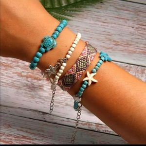 Layered Friendship Bracelet Set Turtles Turquoise